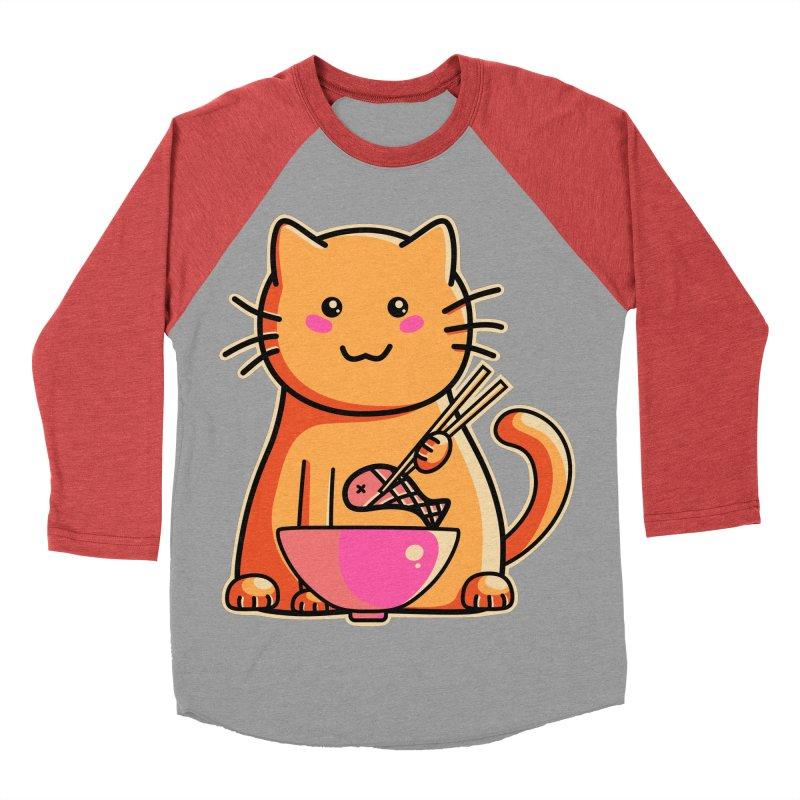 Cute cat eating fish with chopsticks Women's Baseball Triblend T-Shirt by Flaming Imp's Artist Shop