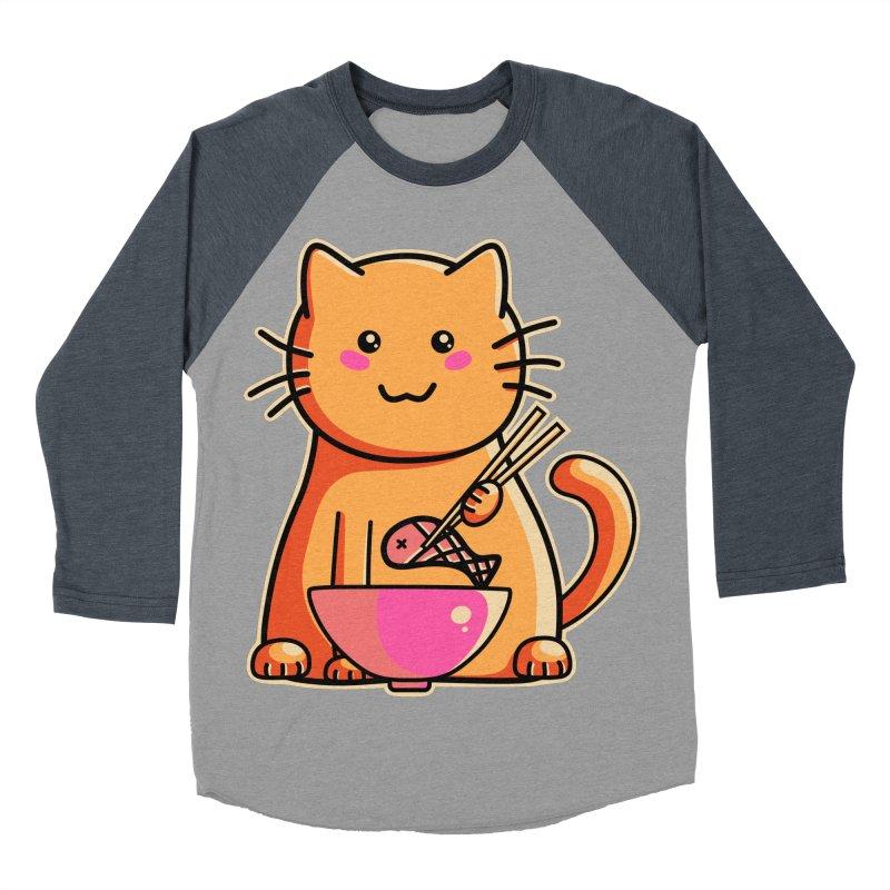 Cute cat eating fish with chopsticks Women's Baseball Triblend Longsleeve T-Shirt by Flaming Imp's Artist Shop