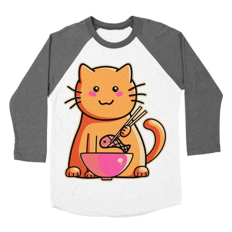 Cute cat eating fish with chopsticks Men's Baseball Triblend T-Shirt by Flaming Imp's Artist Shop