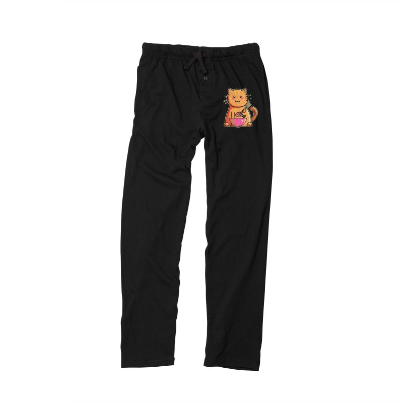 Cute cat eating fish with chopsticks Men's Lounge Pants by Flaming Imp's Artist Shop
