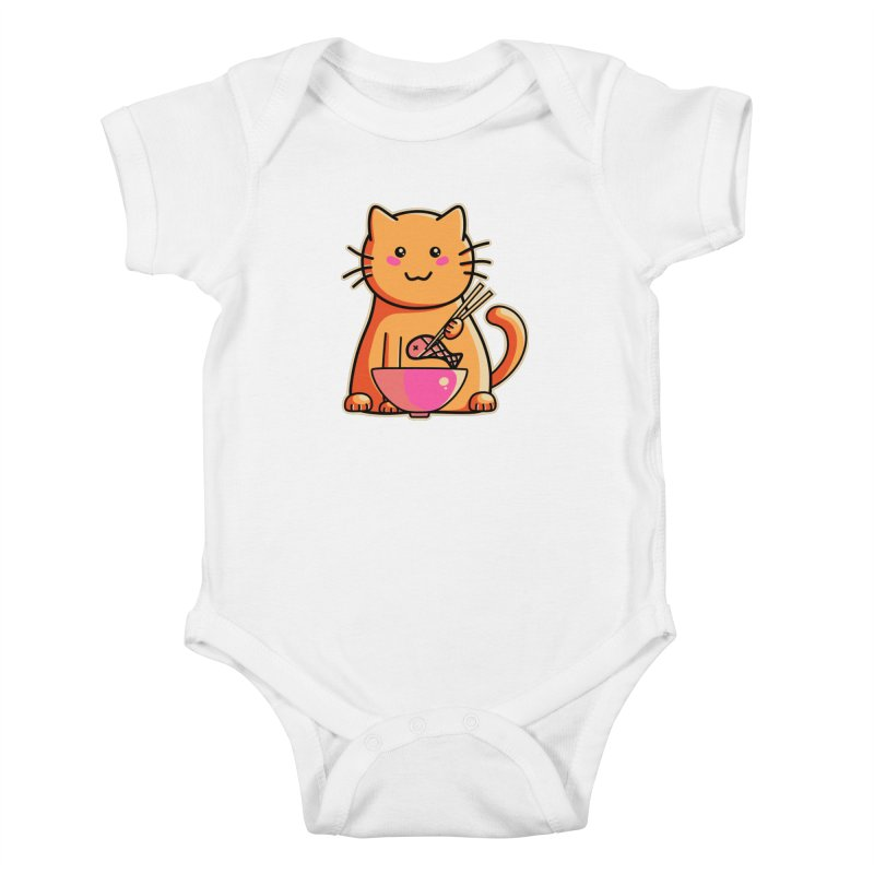 Cute cat eating fish with chopsticks Kids Baby Bodysuit by Flaming Imp's Artist Shop