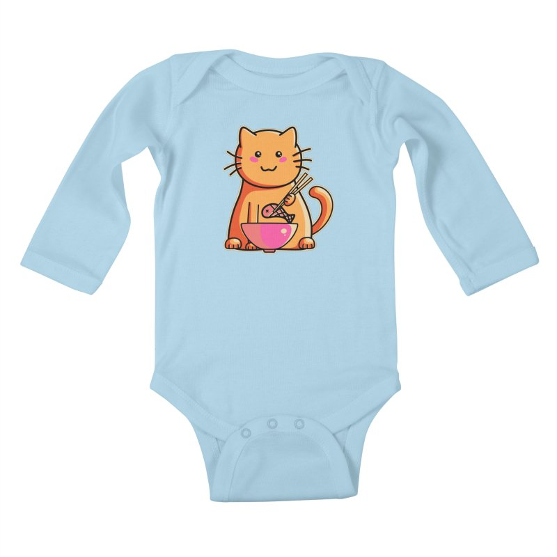 Cute cat eating fish with chopsticks Kids Baby Longsleeve Bodysuit by Flaming Imp's Artist Shop