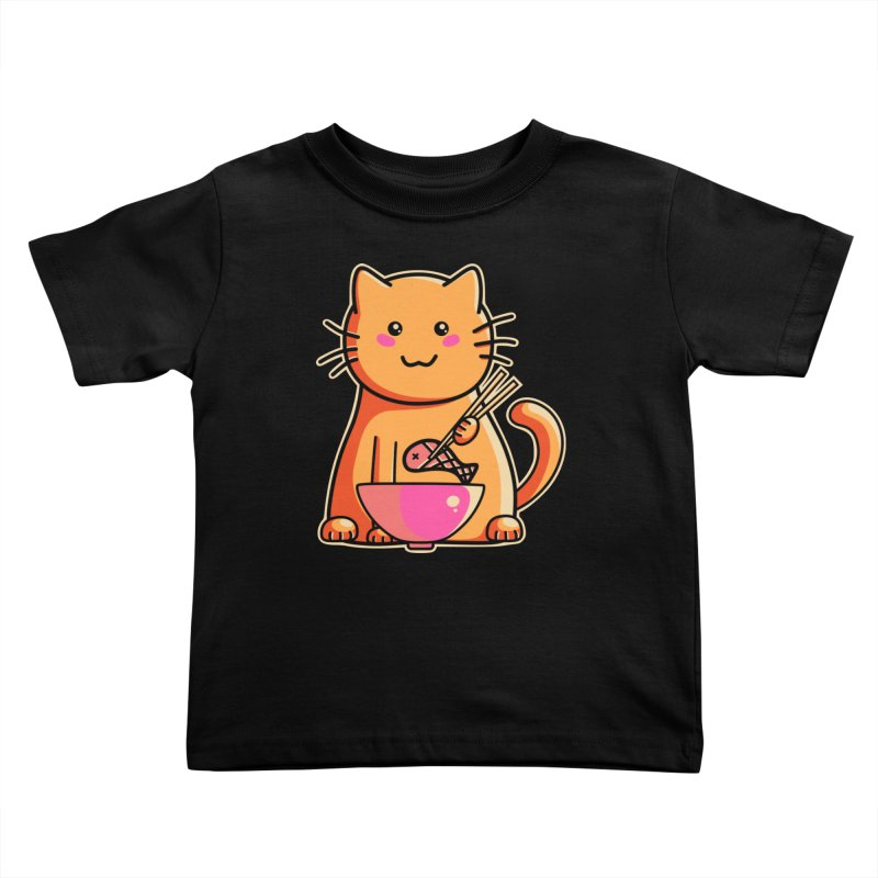 Cute cat eating fish with chopsticks Kids Toddler T-Shirt by Flaming Imp's Artist Shop
