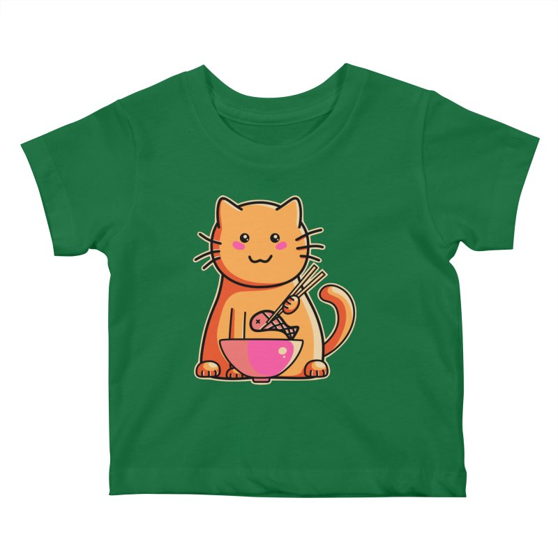 Cute cat eating fish with chopsticks Kids Baby T-Shirt by Flaming Imp's Artist Shop