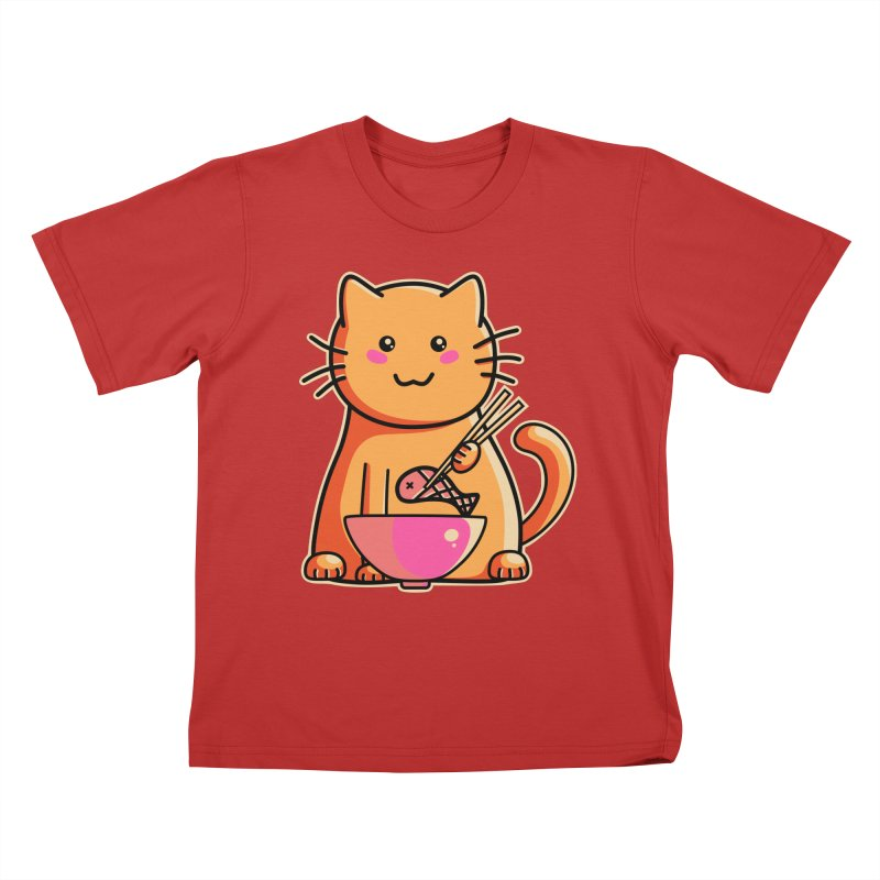 Cute cat eating fish with chopsticks Kids T-Shirt by Flaming Imp's Artist Shop