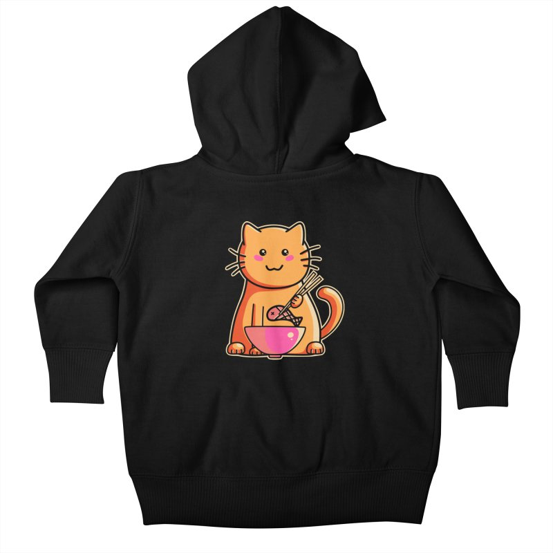Cute cat eating fish with chopsticks Kids Baby Zip-Up Hoody by Flaming Imp's Artist Shop