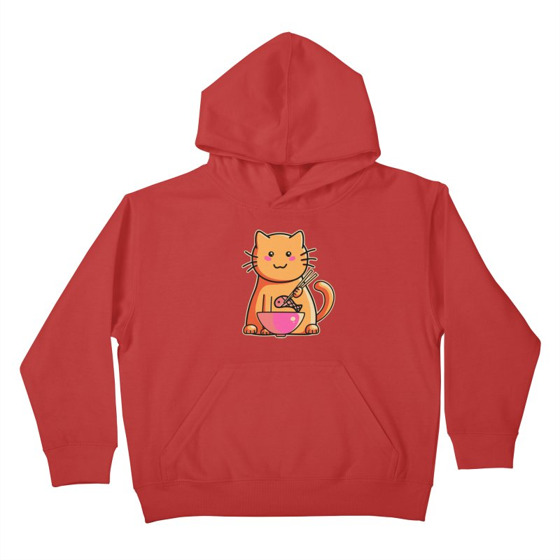 Cute cat eating fish with chopsticks Kids Pullover Hoody by Flaming Imp's Artist Shop