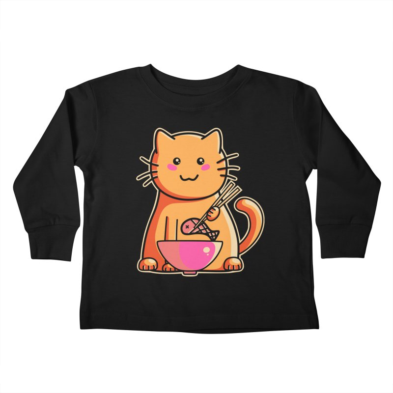 Cute cat eating fish with chopsticks Kids Toddler Longsleeve T-Shirt by Flaming Imp's Artist Shop