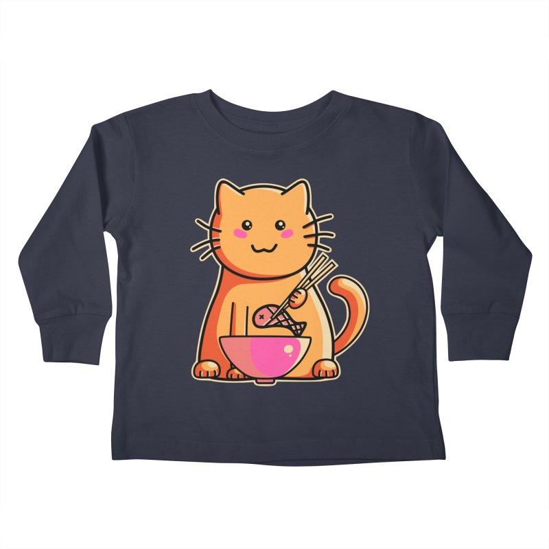 Cute cat eating fish with chopsticks Kids Toddler Longsleeve T-Shirt by Flaming Imp's Artist Shop