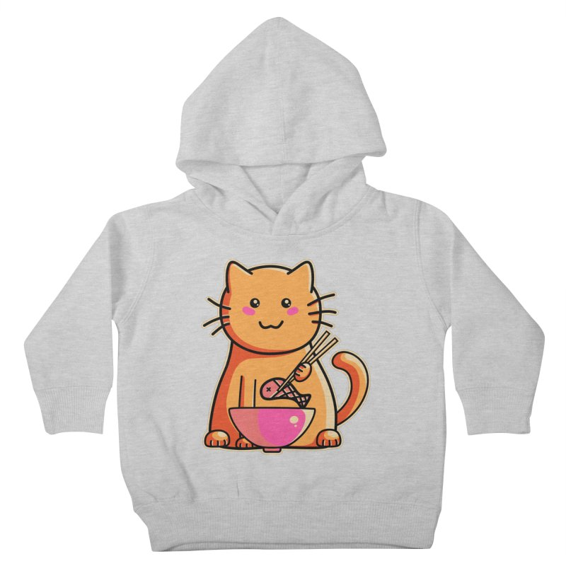Cute cat eating fish with chopsticks Kids Toddler Pullover Hoody by Flaming Imp's Artist Shop