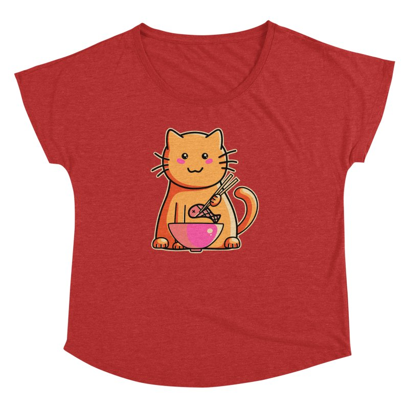 Cute cat eating fish with chopsticks Women's Dolman Scoop Neck by Flaming Imp's Artist Shop