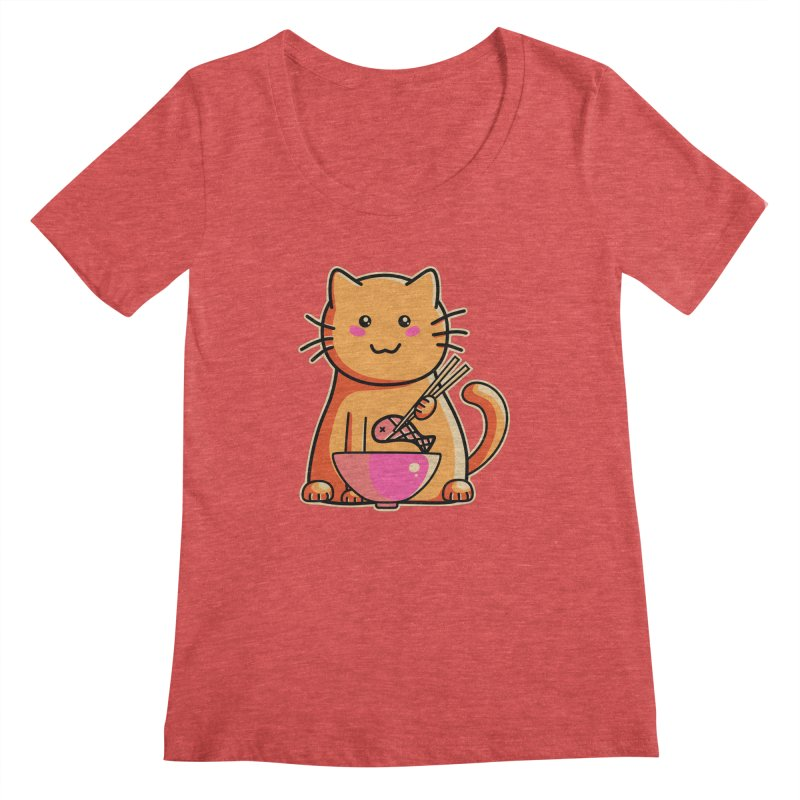 Cute cat eating fish with chopsticks Women's Scoopneck by Flaming Imp's Artist Shop