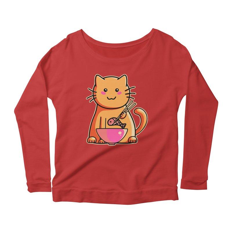 Cute cat eating fish with chopsticks Women's Scoop Neck Longsleeve T-Shirt by Flaming Imp's Artist Shop