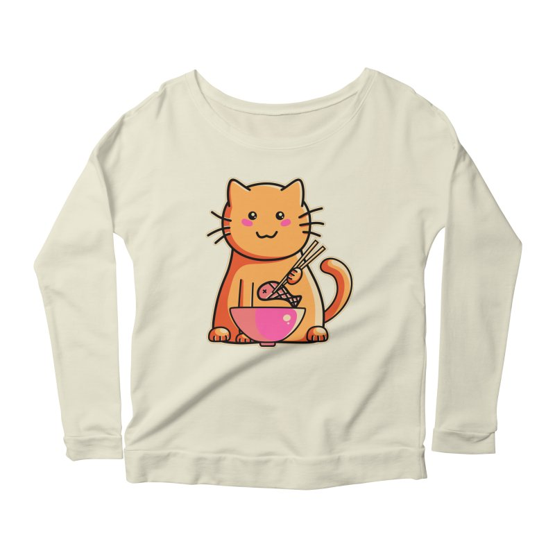 Cute cat eating fish with chopsticks Women's Longsleeve Scoopneck  by Flaming Imp's Artist Shop