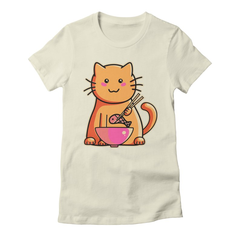 Cute cat eating fish with chopsticks Women's Fitted T-Shirt by Flaming Imp's Artist Shop