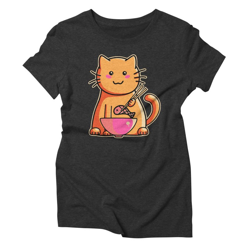 Cute cat eating fish with chopsticks Women's Triblend T-Shirt by Flaming Imp's Artist Shop