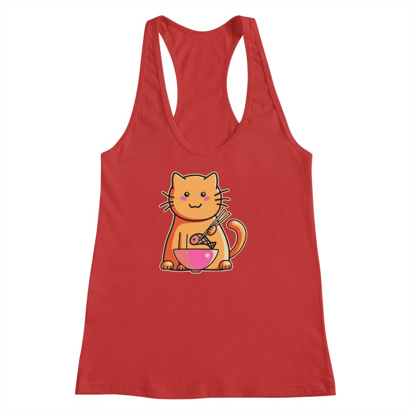 Cute cat eating fish with chopsticks Women's Racerback Tank by Flaming Imp's Artist Shop