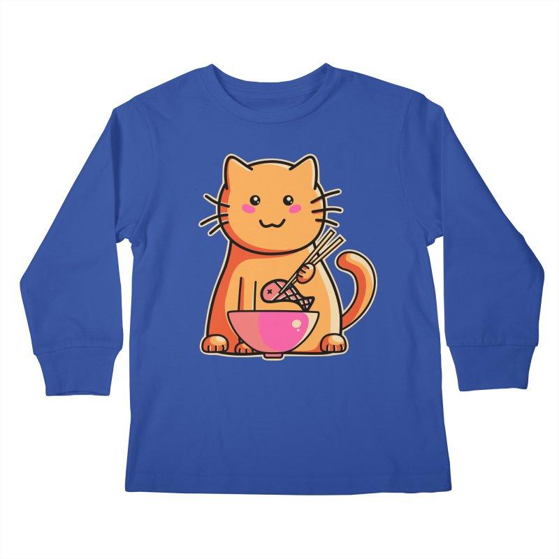 Cute cat eating fish with chopsticks Kids Longsleeve T-Shirt by Flaming Imp's Artist Shop