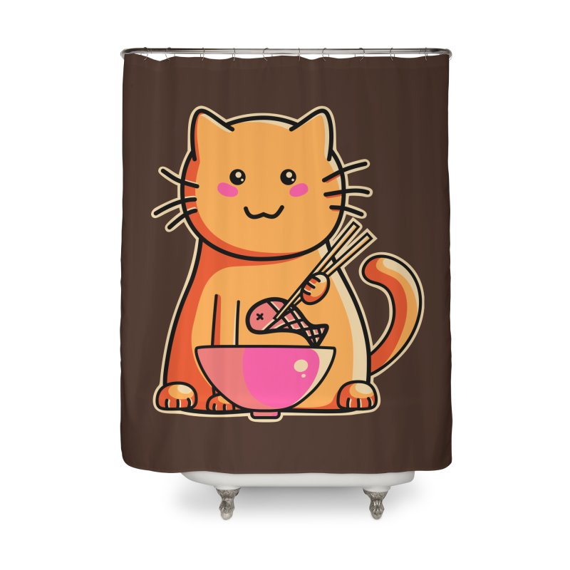 Cute cat eating fish with chopsticks Home Shower Curtain by Flaming Imp's Artist Shop