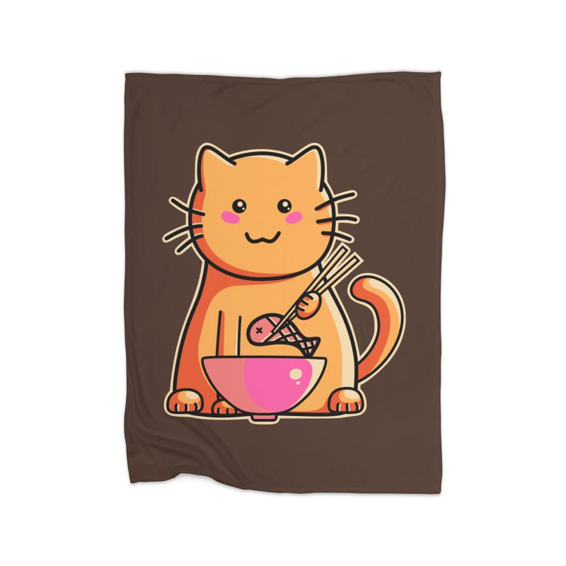 Cute cat eating fish with chopsticks Home Blanket by Flaming Imp's Artist Shop