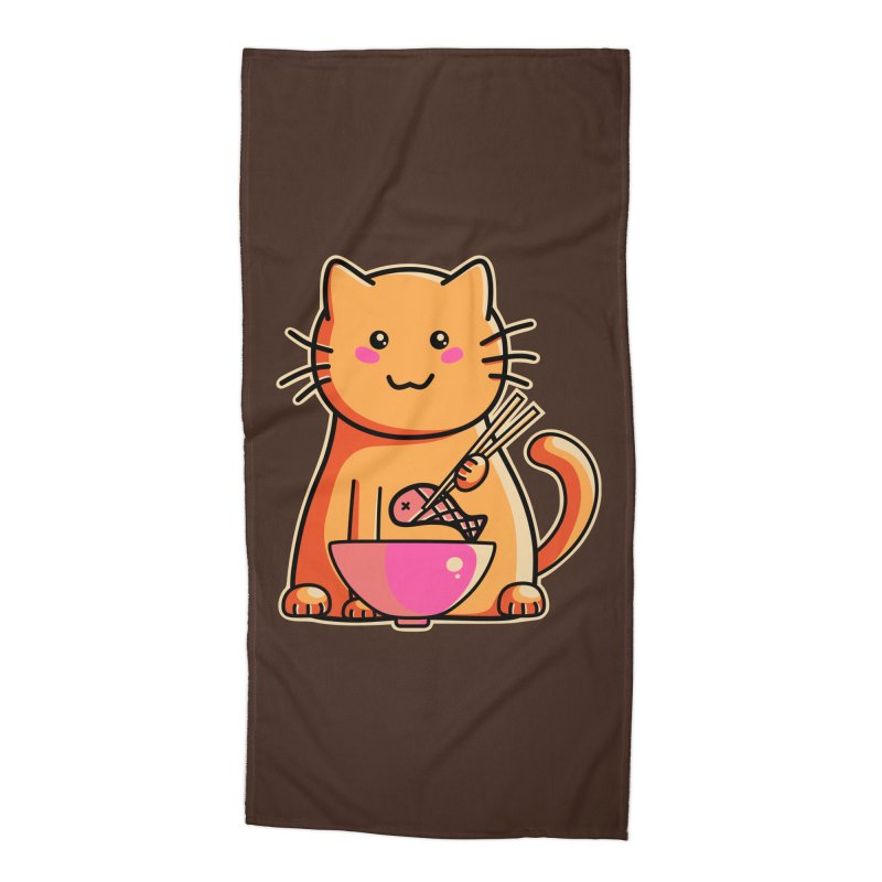 Cute cat eating fish with chopsticks Accessories Beach Towel by Flaming Imp's Artist Shop