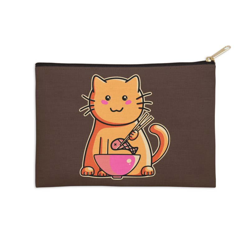 Cute cat eating fish with chopsticks Accessories Zip Pouch by Flaming Imp's Artist Shop