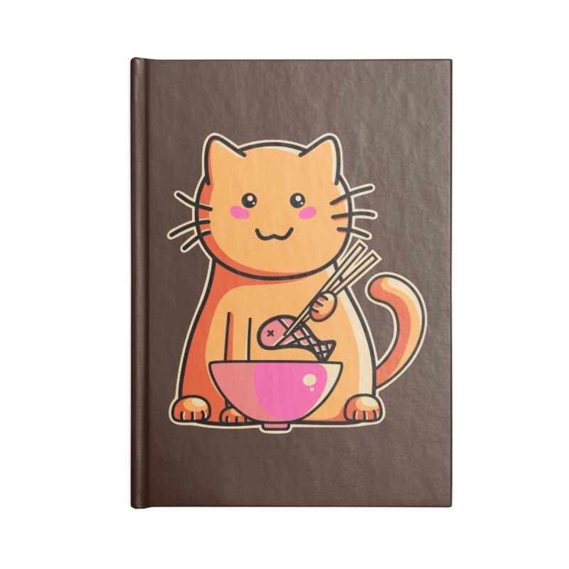 Cute cat eating fish with chopsticks Accessories Notebook by Flaming Imp's Artist Shop