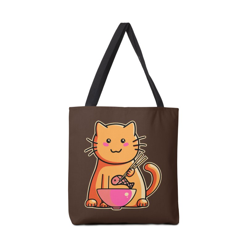 Cute cat eating fish with chopsticks Accessories Bag by Flaming Imp's Artist Shop
