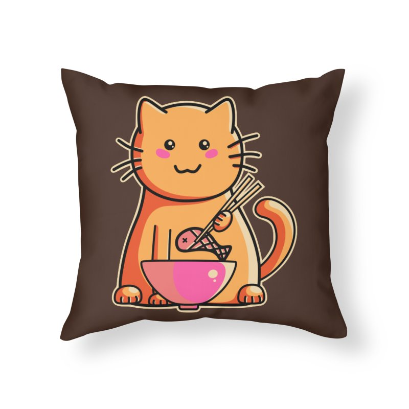 Cute cat eating fish with chopsticks Home Throw Pillow by Flaming Imp's Artist Shop
