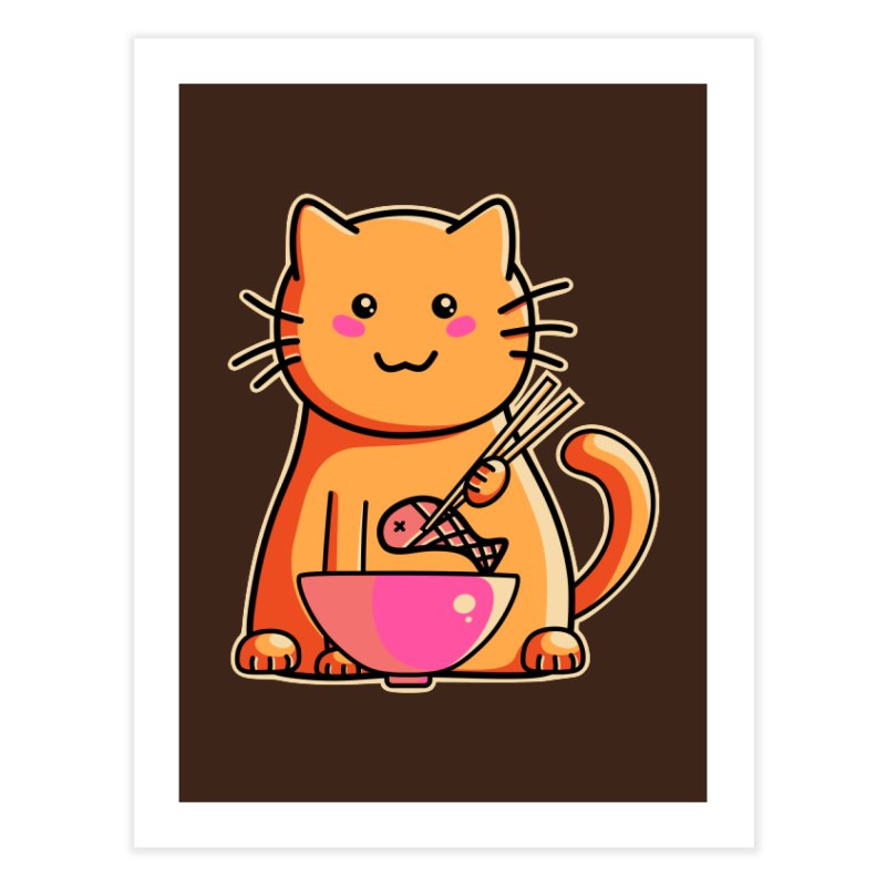 Cute cat eating fish with chopsticks Home Fine Art Print by Flaming Imp's Artist Shop
