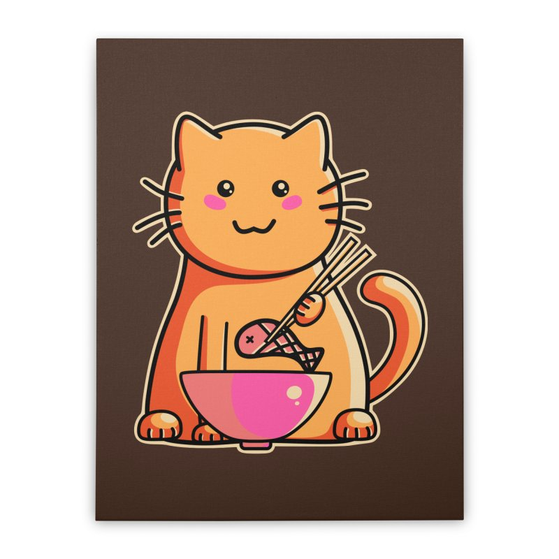 Cute cat eating fish with chopsticks Home Stretched Canvas by Flaming Imp's Artist Shop