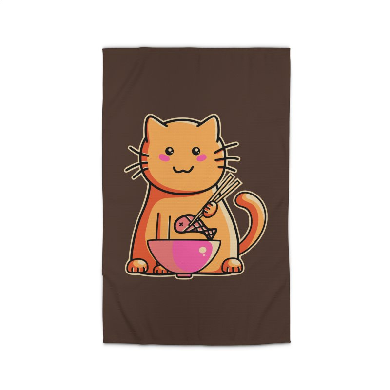 Cute cat eating fish with chopsticks Home Rug by Flaming Imp's Artist Shop