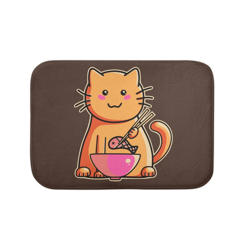 Cute cat eating fish with chopsticks Home Bath Mat by Flaming Imp's Artist Shop