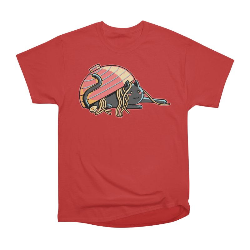 Ramen Loving Cat Women's Heavyweight Unisex T-Shirt by Flaming Imp's Artist Shop