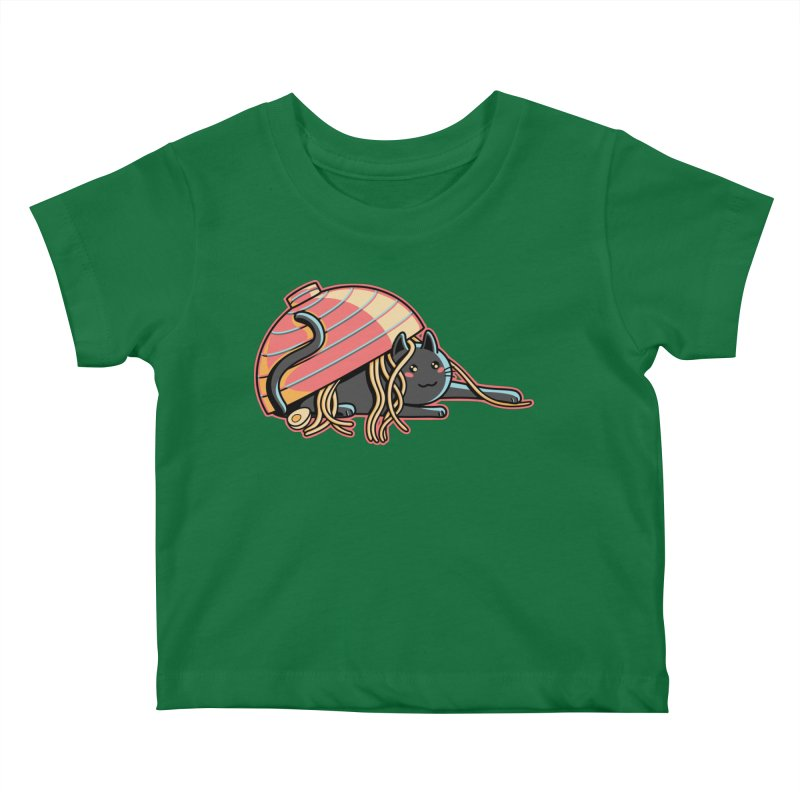 Ramen Loving Cat Kids Baby T-Shirt by Flaming Imp's Artist Shop