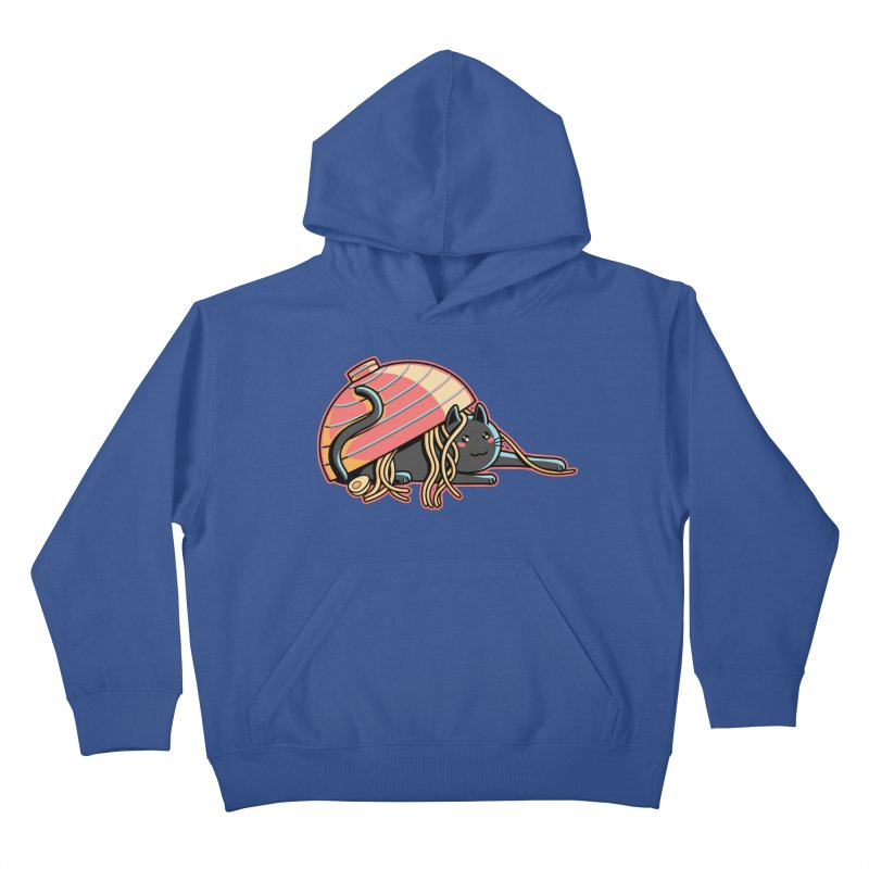 Ramen Loving Cat Kids Pullover Hoody by Flaming Imp's Artist Shop