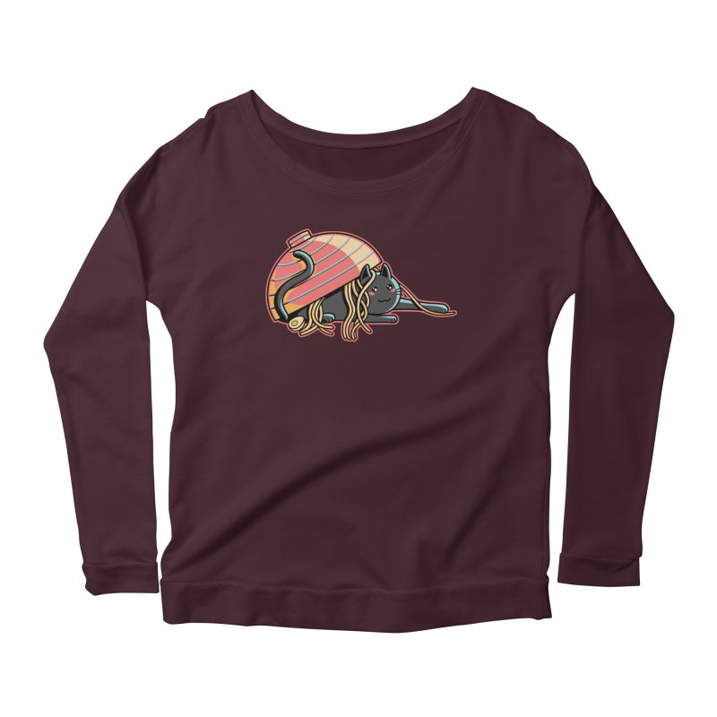 Ramen Loving Cat Women's Scoop Neck Longsleeve T-Shirt by Flaming Imp's Artist Shop