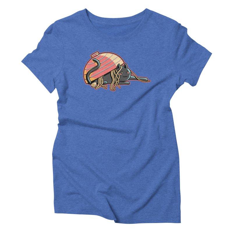 Ramen Loving Cat Women's Triblend T-Shirt by Flaming Imp's Artist Shop