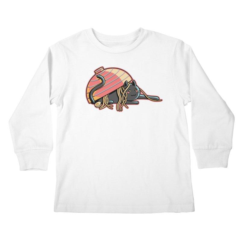 Ramen Loving Cat Kids Longsleeve T-Shirt by Flaming Imp's Artist Shop