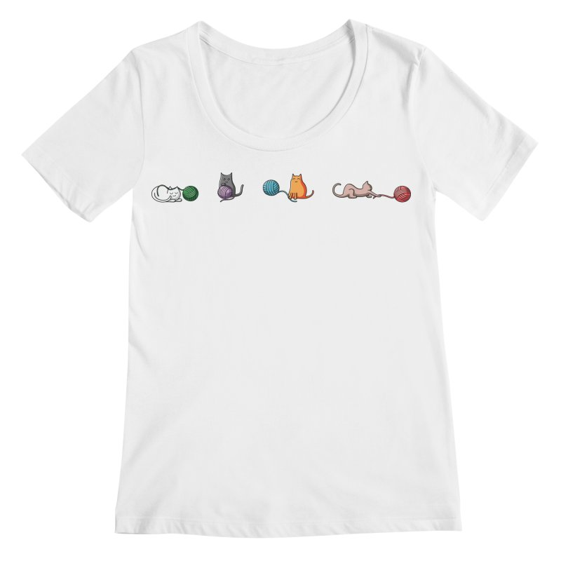 Cats at play Women's Scoopneck by Flaming Imp's Artist Shop