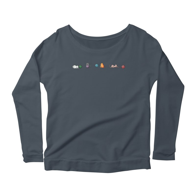 Cats at play Women's Longsleeve Scoopneck  by Flaming Imp's Artist Shop