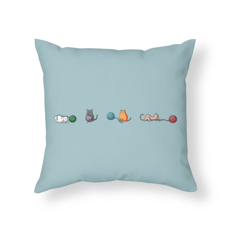 Cats at play Home Throw Pillow by Flaming Imp's Artist Shop