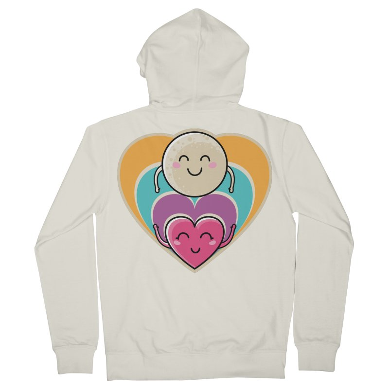 Love to the moon and back Men's French Terry Zip-Up Hoody by Flaming Imp's Artist Shop