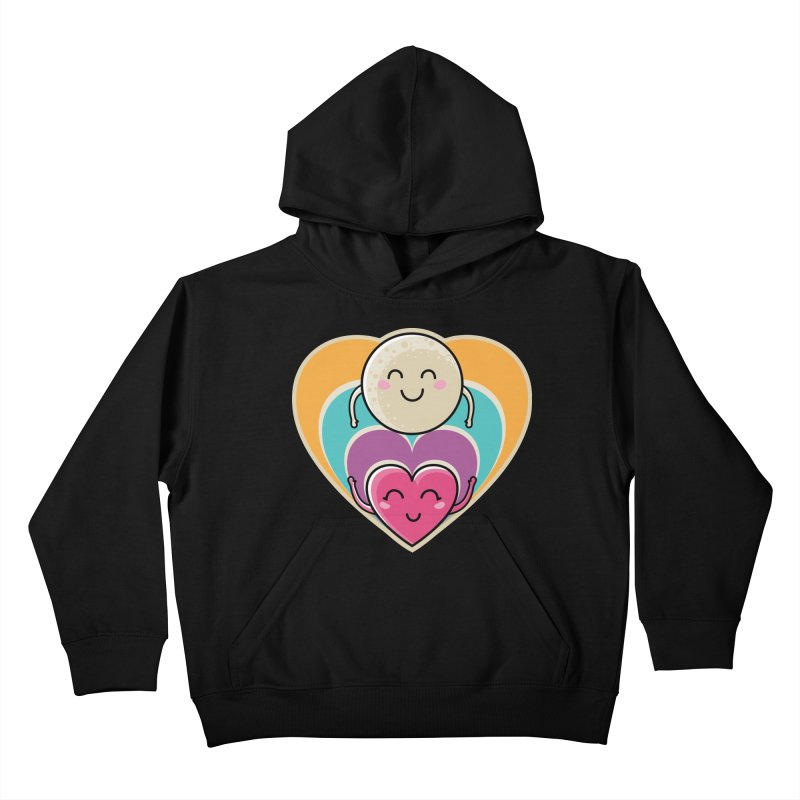 Love to the moon and back Kids Pullover Hoody by Flaming Imp's Artist Shop