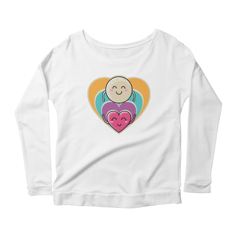 Love to the moon and back Women's Scoop Neck Longsleeve T-Shirt by Flaming Imp's Artist Shop