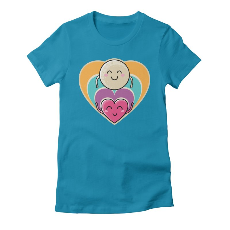 Love to the moon and back Women's Fitted T-Shirt by Flaming Imp's Artist Shop