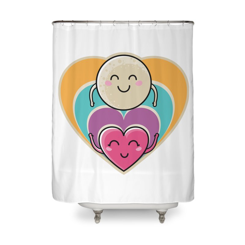 Love to the moon and back Home Shower Curtain by Flaming Imp's Artist Shop