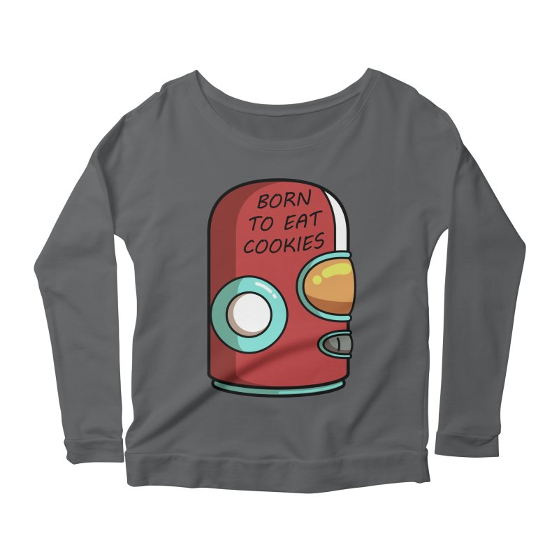 Gary Born To Eat Cookies Women's Scoop Neck Longsleeve T-Shirt by Flaming Imp's Artist Shop
