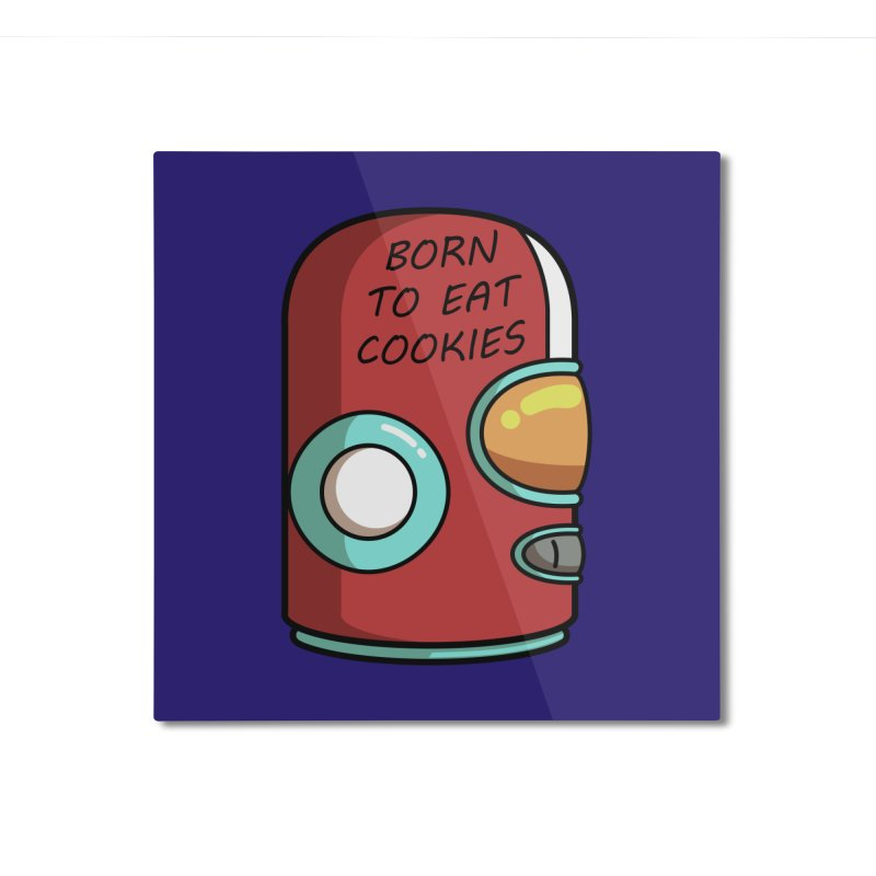 Gary Born To Eat Cookies Home Mounted Aluminum Print by Flaming Imp's Artist Shop