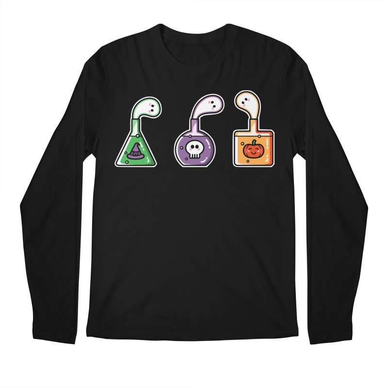 Cute Halloween Ghost Potions Men's Regular Longsleeve T-Shirt by Flaming Imp's Artist Shop